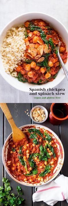 Ragoût d pois chiches et épinards , a l'espagnol