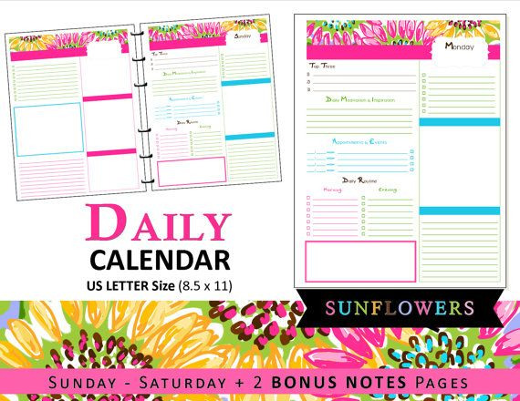 Lilly Inspired Daily Calendar Planner Refills U0026 Bonus Notes   Printable    Tropical, Sunflowers, Pink, Blue, Yellow, Preppy US LETTER