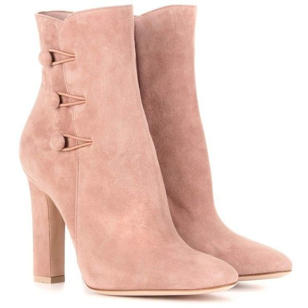 Gianvito Rossi Savoie Suede Ankle Boots ($590) ❤ liked on Polyvore featuring shoes, boots, ankle booties, ankle boots, heels, pink, suede ankle boots, heeled bootie, pink booties and suede booties