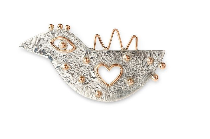 #YURGA #Pin #Baby-bird  Sterling silver, rose gold