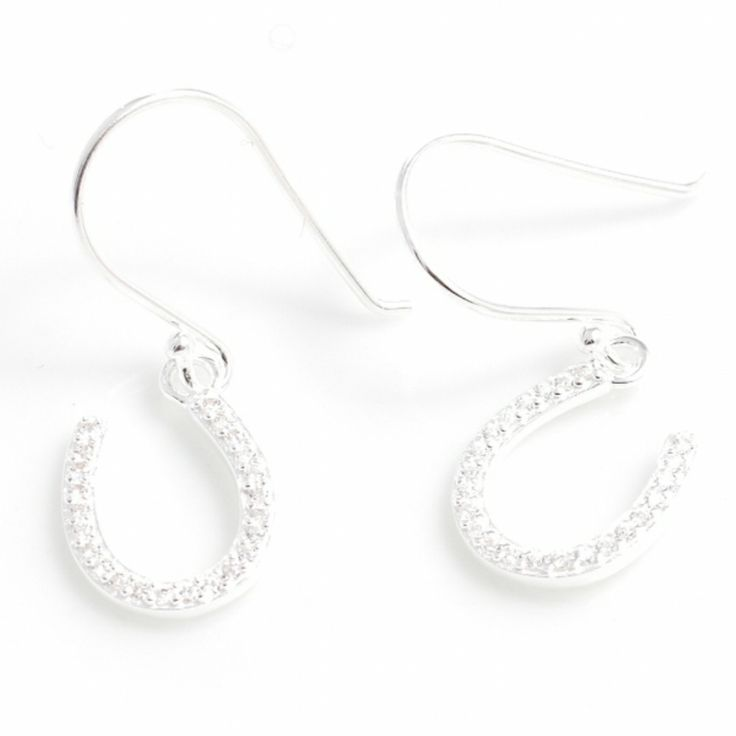 Sterling Silver and Crystal Horseshoe Earrings