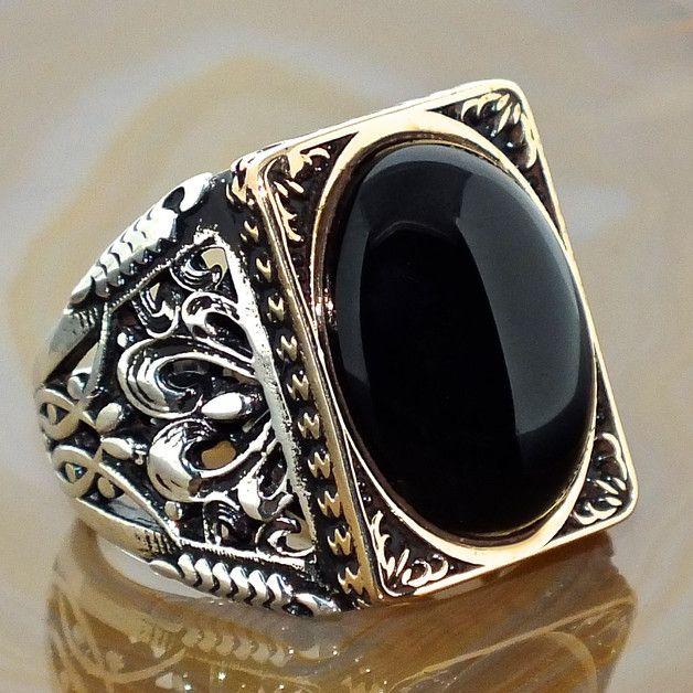 - 925 Sterling Silber Herren Ring mit schwarzem Onyx 20x15mm  - total Gewicht ca: 18,7 gr