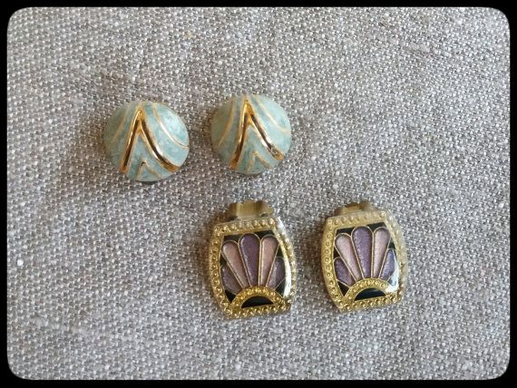 Vintage Art Deco clip-on earrings  two pairs by PawhillTreasures