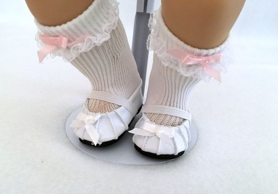 """6.00 USD  These Baby Doll Shoes are perfect for 14-16 inch Baby Dolls. They are manufactured but embellished with a homemade white bow which will dress up many of the dresses you already have or dresses in my shop. The straps attach with velcro so they are easy on and easy off. They are 1 3/4"""" long and 1 1/2"""" wide. Check out the other colors and styles available in the shoe section of my shop. http://ift.tt/25bJD4a A free gift box is enclosed  White Shoes for 14-16 inch Doll - Baby Doll…"""
