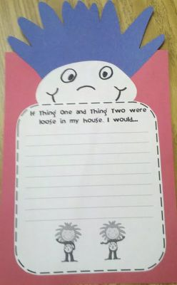 Dr. Seuss writing prompt and craftivity - Thing One--you could do their hair by tracing two of their hands on blue.