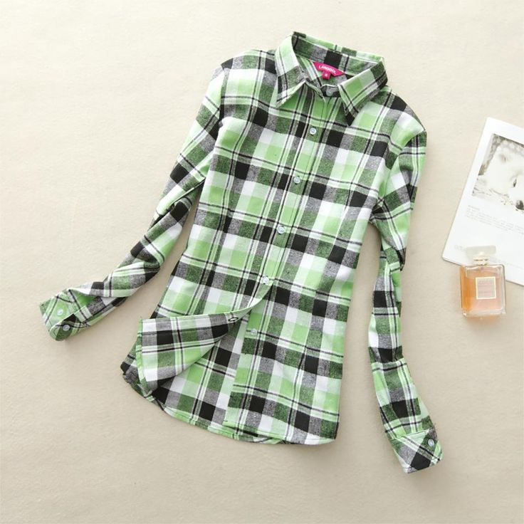 19 colors shirt wome clothing new long sleeve ladies blouses cotton flannel casual plaid shirt women plus size top