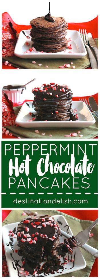 Peppermint Hot Chocolate Pancakes | Destination Delish