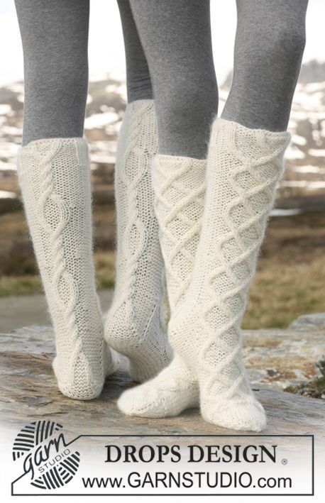 """Knitted DROPS Socks with cables in """"Merino Extra Fine"""" and """"Kid-Silk"""". ~ DROPS Design"""