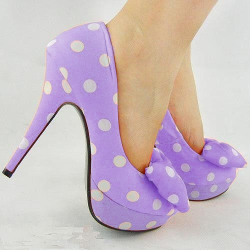 lavender polka dot pumps