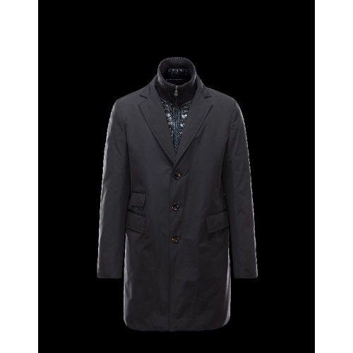 Købe Moncler LESPARRE Detachable Lapel Collar Dark Blå Vinter Jakker Polyamide Herre 41456696GV Outlet