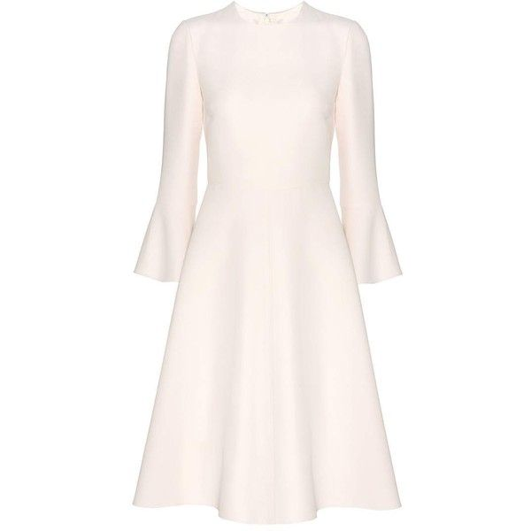 Valentino Virgin wool and silk dress ($3,290) ❤ liked on Polyvore featuring dresses, night out dresses, pink silk dress, pink dress, sparkly dresses and zip back dress