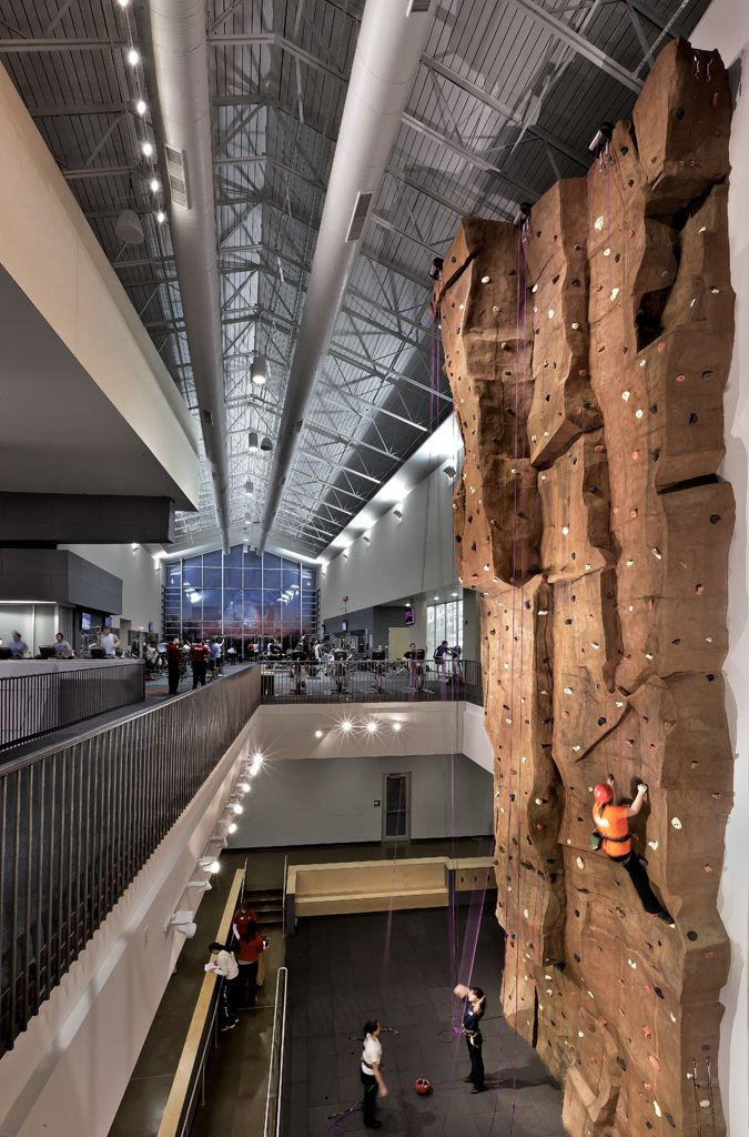 Illinois State University Student Fitness Center climbing wall and second floor weight area