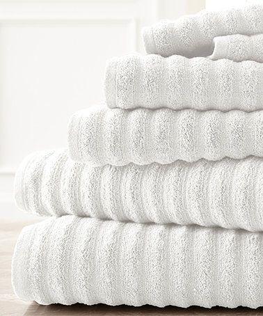 Look what I found on #zulily! White Wavy Quick-Dry Six-Piece Bath Towel Set #zulilyfinds