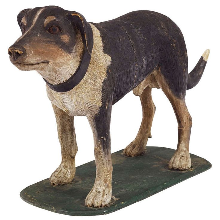A Late 19th Century French Painted Dog with a dear expression| From a unique collection of antique and modern animal sculptures at http://www.1stdibs.com/furniture/more-furniture-collectibles/animal-sculptures/