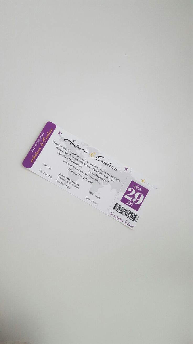 Boarding pass weddimg invitation