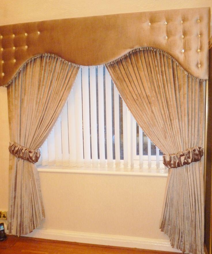 Velvet Shaped Pelmet and Curtains