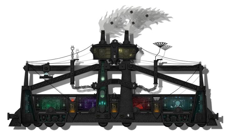 Dark Train with open wagons.