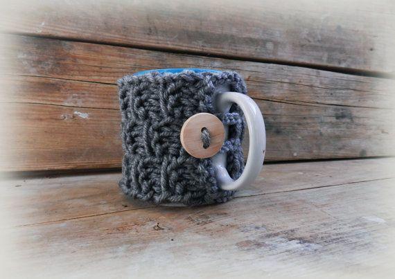 Gray Tea Cup Cozy/Knit cup/Unique tea cup by GabriCollection