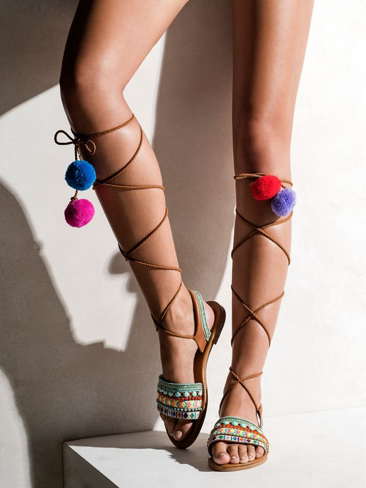 Elina Linardaki L.A. Lover Embroidered Leather High-Wrap Sandals yvNYmDtD