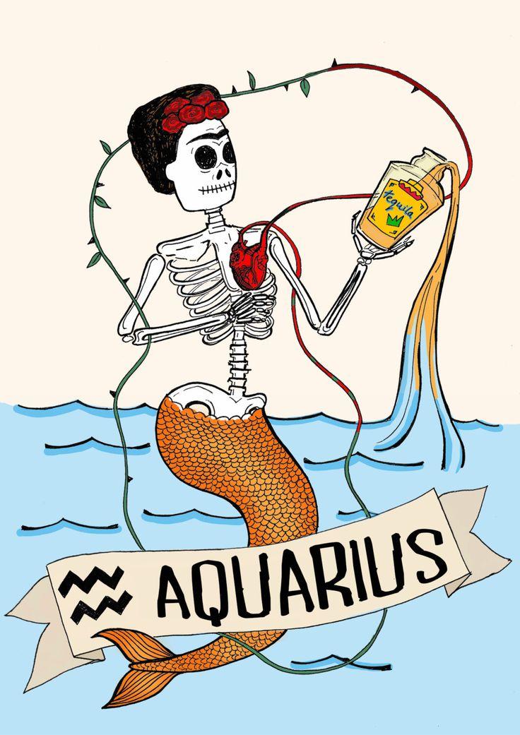 FRIDA KAHLO, aquarius, Limited edition zodiac sign, Original Illustration, Fine Art Print, tequila, anatomical heart by CorazonBeats on Etsy https://www.etsy.com/listing/227424811/frida-kahlo-aquarius-limited-edition