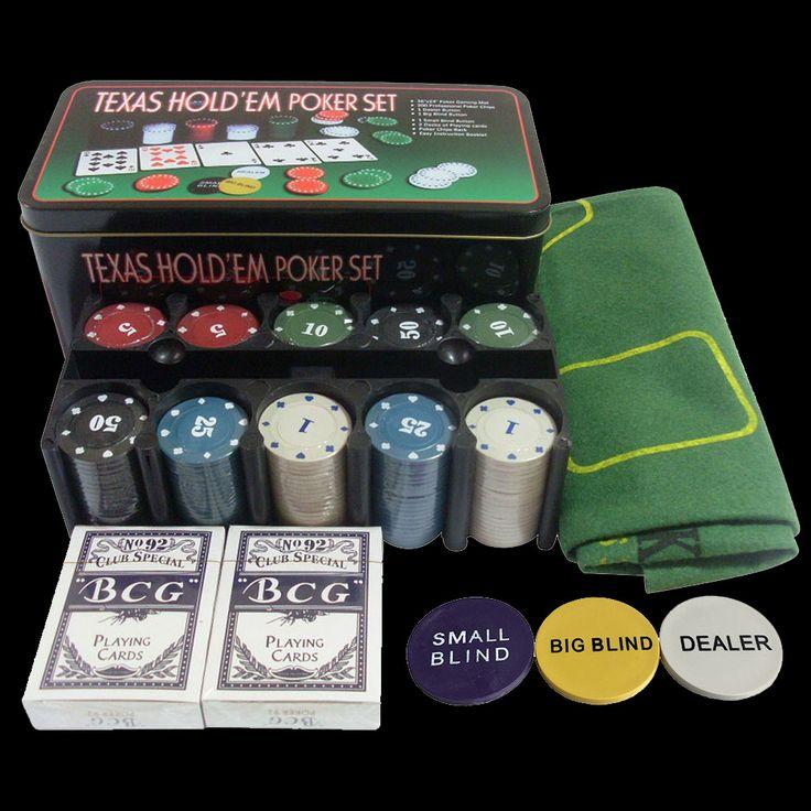 Tahun baru-Tawar-menawar set! BEBAS PAJAK! Poker Chip Set-200 pcs Poker chips & meja kain & Dealer Blinds & Bermain kartu