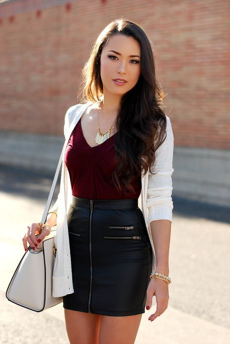 Leather Mini Skirt with Zipper Details, Red Top, White Cardigan