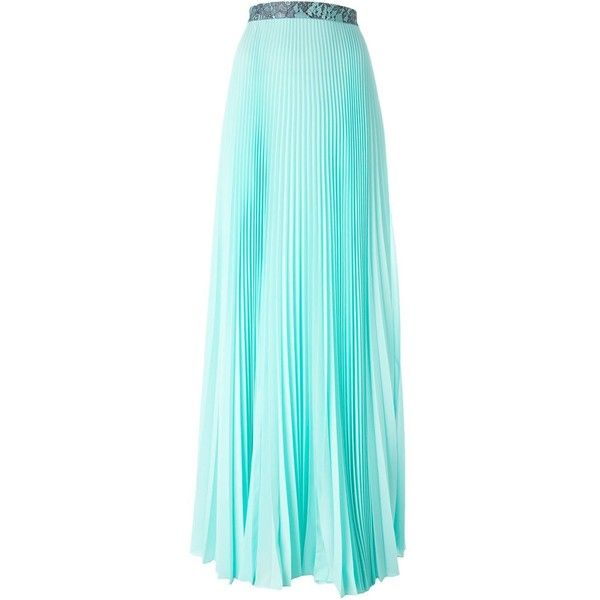 Christopher Kane pleated maxi skirt (13.160 ARS) ❤ liked on Polyvore featuring skirts, green, green pleated skirt, maxi skirt, high waisted pleated maxi skirt, long skirts and blue maxi skirt