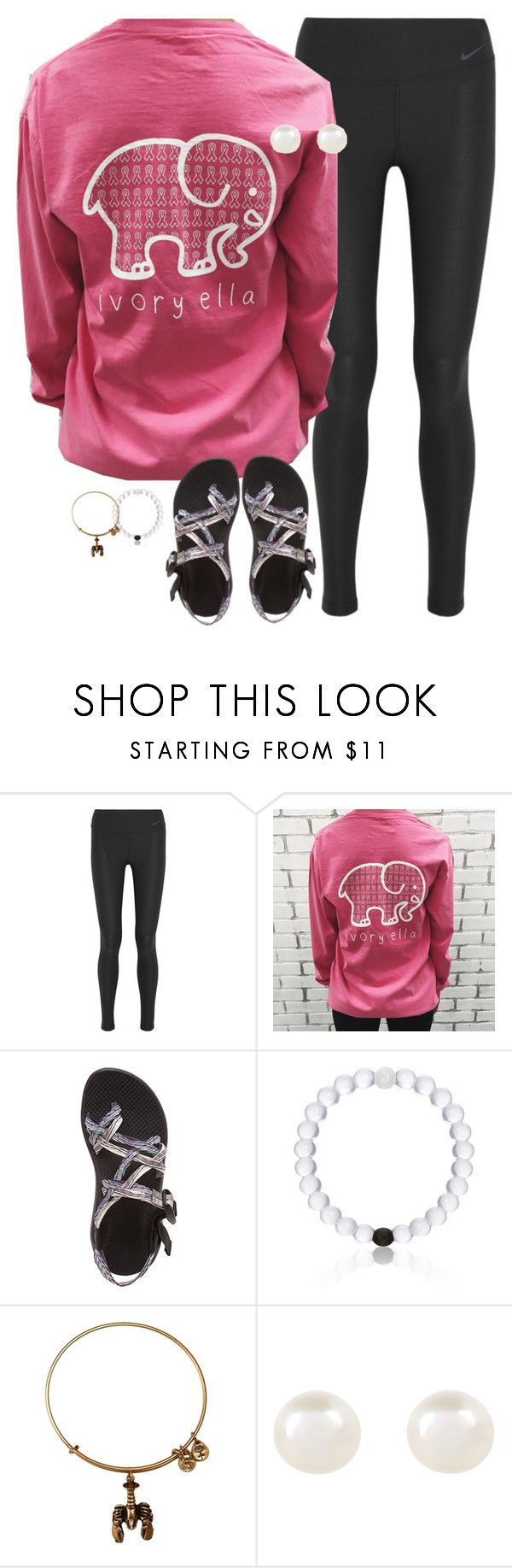 """""""Ivory Ella, Save the Elephants"""" by lizzielane33 ❤ liked on Polyvore featuring NIKE, Chaco, Everest, Alex and Ani and Accessorize"""