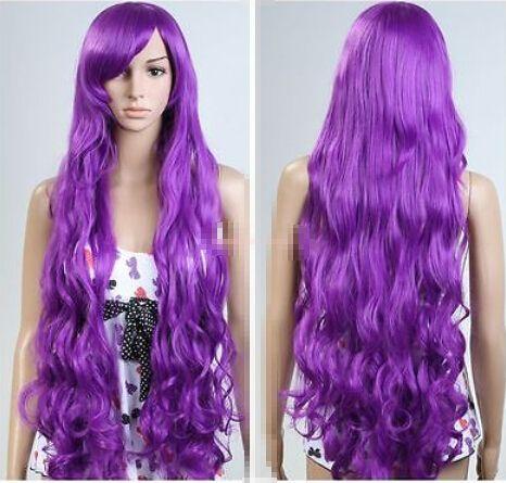 РА дамы Peluca Женщины Длинные 100 см Здоровые Волосы Темно-Фиолетовый Косплей Костюм Парик Синтетического волокна волос парики парики