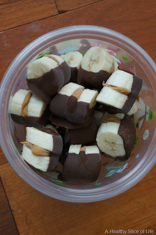 Chocolate Dipped Almond Butter Banana Bites:  3 large bananas ⅓ cup nut butter of choice ½ cup melted chocolate of choice  Slice bananas into slices about ¼-1/2 inch thick. Spread a little nut butter onto a slice and sandwich two slices together. Place on wax paper on a cookie sheet and freeze until solid, at least an hour. Melt chocolate and remove frozen banana bites from freezer. Dip each banana bite in chocolate and place back on wax paper. Freeze for another hour. Transfer and keep in…