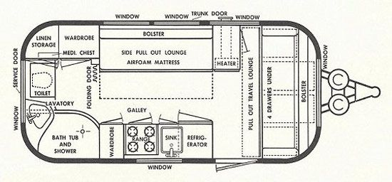 Airstream Floor Plans Vintage Airstream Remodel Floorplan