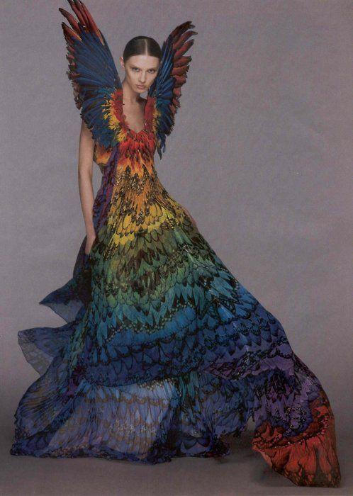 Alexander McQueen, Spring 2008: Gummy Bears, Fashion Dresses, Rainbows Dresses, Alexander Mcqueen Dresses, Alexandermcqueen, Parrots, Gowns, Mcqueen Rainbows, Feathers