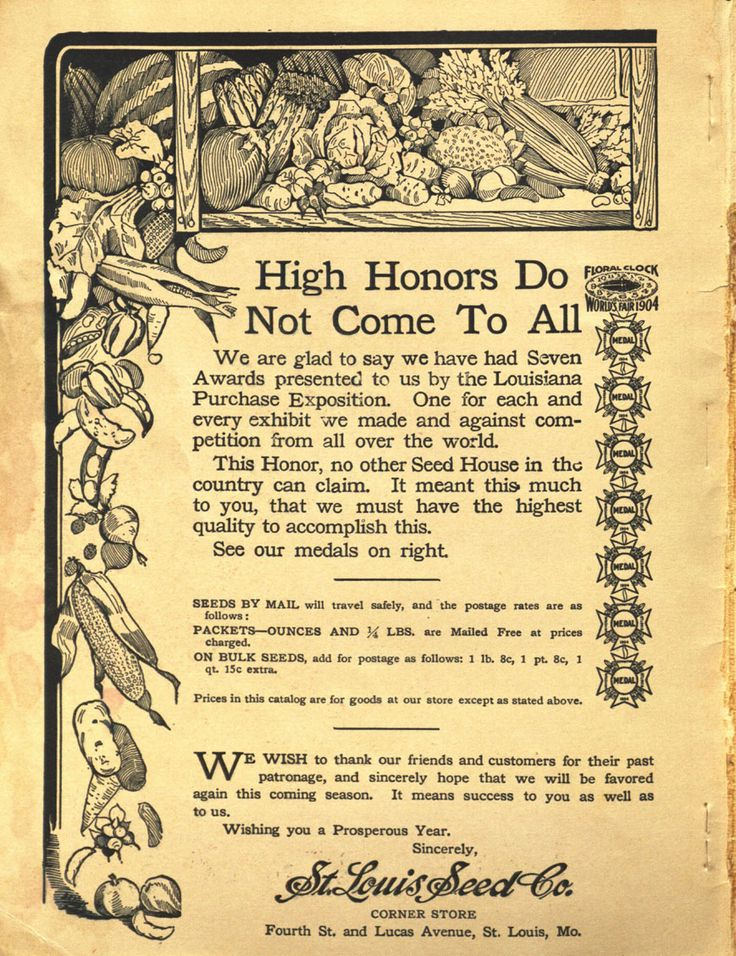 """From the collection at Andersen Horticultural Library. Nursery publications often tout major awards won by that company at world's fairs and other horticultural exhibitions. St. Louis Seed Co. issued the above in 1913, advertising seven awards won """"against competition from all over the world"""" at the 1904 World's Fair in St. Louis."""