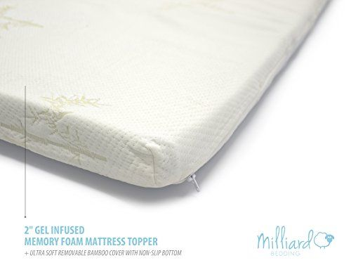Milliard 2 Gel Infused Memory Foam Mattress Topper Ultra Soft Removable Bamboo Cover With