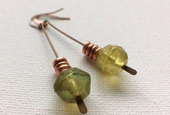 Chartreuse Earrings Peridot Earrings Czech by PERCIVALandHUDSON