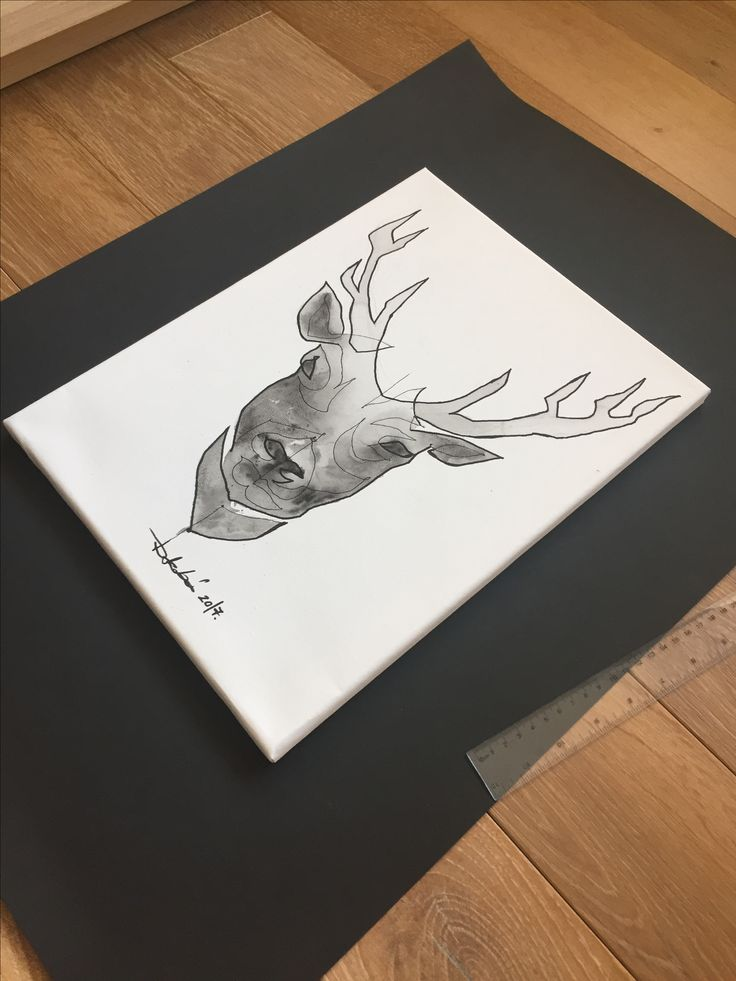 Paint painting draw deer art artist artwork drawing blackandwhite rajz szarvas