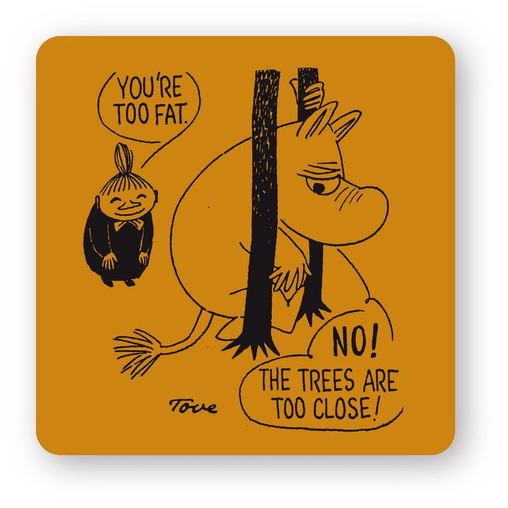 Handmade coasters with classic motif taken from Tove Jansson's original drawings. High quality wood, made in Sweden. Suitable for dishwasher, 9x9cm. This one features Little My making fun of Moomintroll, who is stuck between two trees.