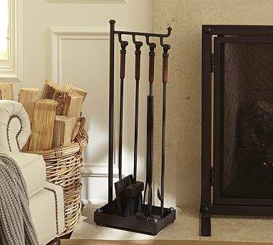 Industrial Fireplace Tool Set #potterybarn