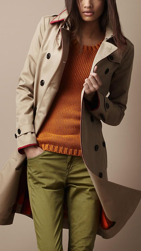 Burberry - LONG COTTON GABARDINE SUEDE DETAIL TRENCH COAT  $1,295.00  The holy grail of trench coats... Someday...