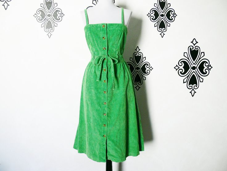 Vintage 70s Green Jumper Dress M Belted Button-Down Knee Length Corduroy by PopFizzVintage on Etsy