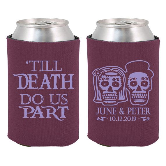 Wedding Can Coolers  Day of the Dead Skulls  by MyWeddingStore