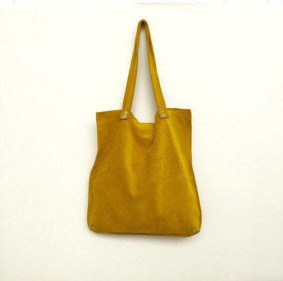 Geel suede tote, gele leerzak, geel suede tas, zachte gele schoudertas, gele handtas