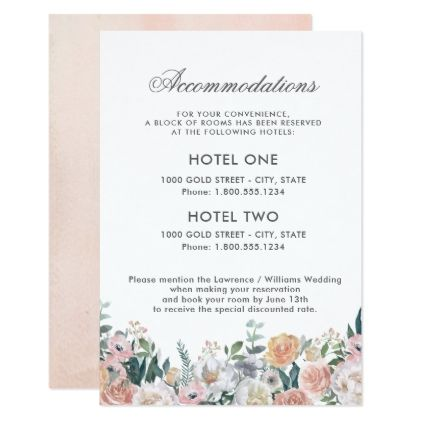 Dusk Watercolor Flower | Accommodations Card - wedding invitations diy cyo special idea personalize card