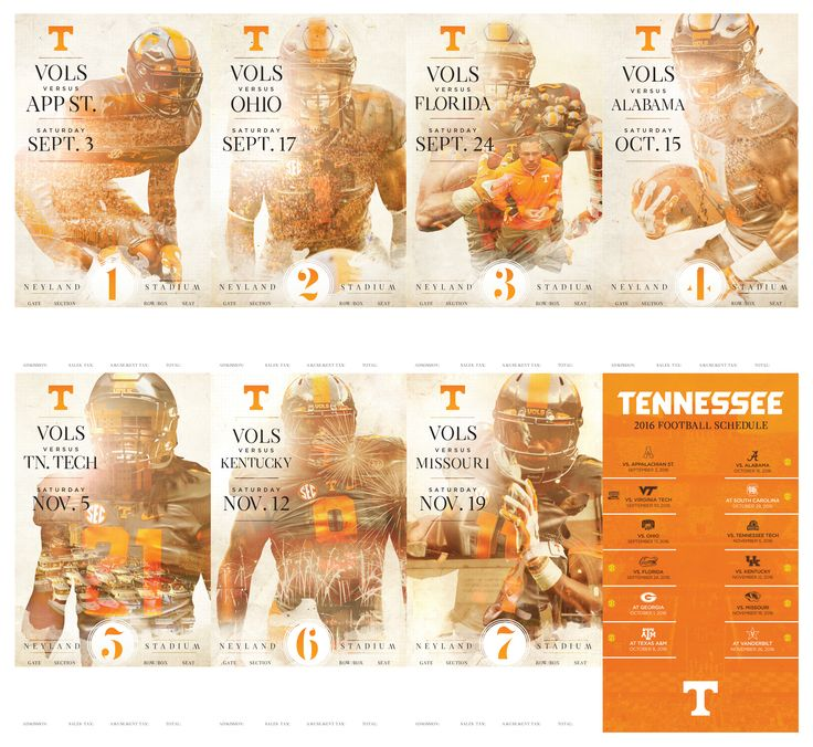 2016 Tennessee Football Season Ticket Design & Gameday Program Cover Design
