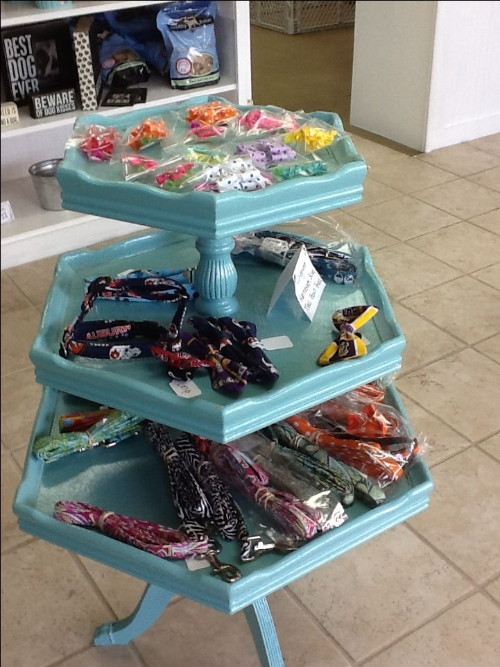 Used Display Tables ~ Old tier table used to display products in a dog