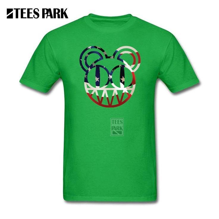 Funny Tee Shirts Radiohead Band Modified Bear Us Man Round Collar Short Sleeve T Shirt New Design Men Customised T Shirts #Affiliate
