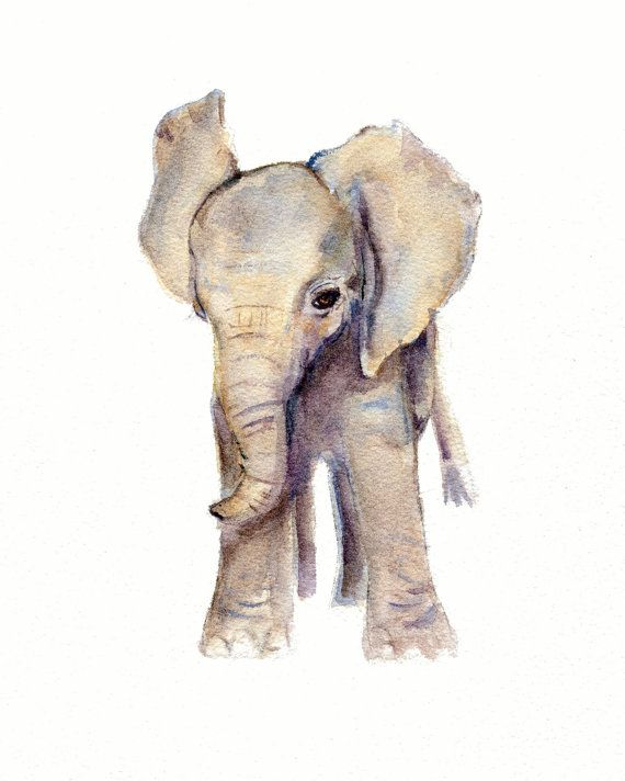 Elephant Baby Watercolor Nursery Print from Original painting  5 X 7