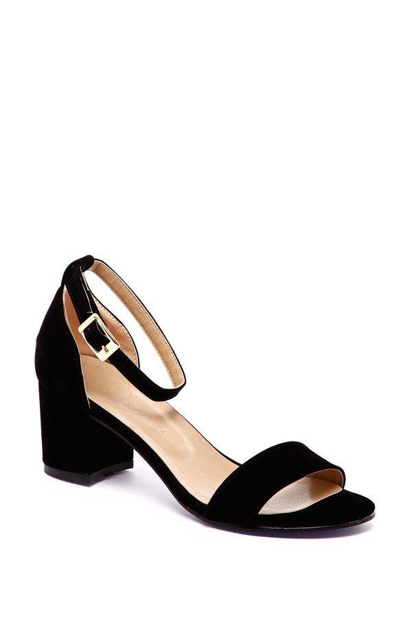 401-HKC Siyah Süet Kısa Topuklu Ayakkabı