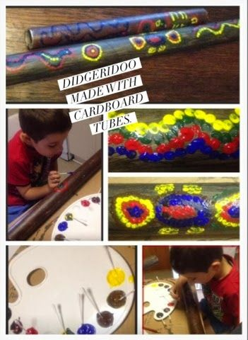 Didgeridoo ( made with a big cardboard tube) and dotting method. Good indigenous cultural craft activity