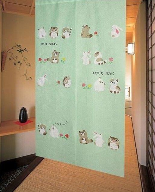 Nova marca Sorte Boa Vontade Coelho Pig Corujas Porta Cortina japonesa Doorway Noren JOY  5914 em Cortinas de Casa & jardim no AliExpress.co...